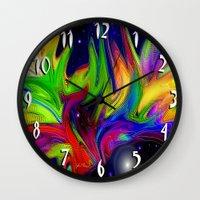 makeup Wall Clocks featuring Galactic makeup by JT Digital Art