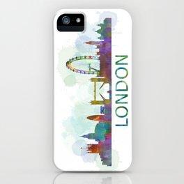London UK Skyline HQ watercolor iPhone Case