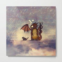 Dragons in the Rain Metal Print