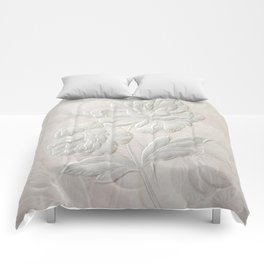 Embossed Painterly White Floral Abstract Comforters