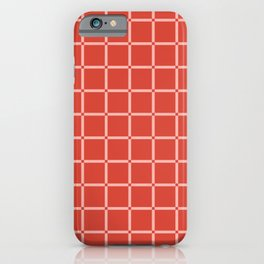 Modified Grid Pattern in Coral and Peach iPhone Case
