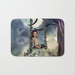 Cute little fairy with kitten on a swing Bath Mat