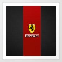 ferrari Art Prints featuring Ferrari by ZenthDesigns