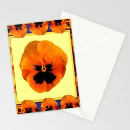 This design is all about the ORANGE PANSIES ON YELLOW COLOR DESIGN ART decor, furnishings, or for th Stationery Cards