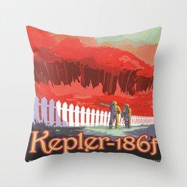 Kepler-186 : NASA Retro Solar System Travel Posters Throw Pillow