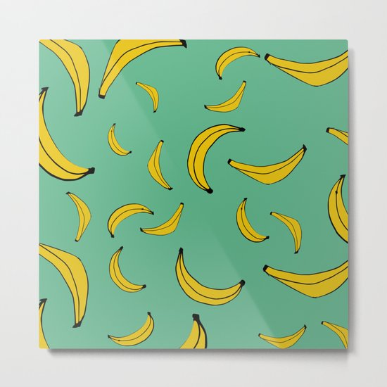 Sea of bananas Green Metal Print