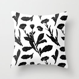 Block Print Marigold Floral in Black + White Throw Pillow