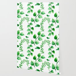 Watercolour Ferns And Vines Leafy Green Continuous Pattern Wallpaper