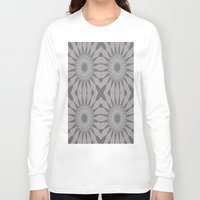 gray pattern Long Sleeve T-shirts featuring Gray Flower by 2sweet4words Designs