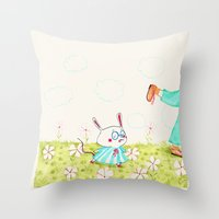 mouse Throw Pillows featuring Mouse by Maureen Poignonec