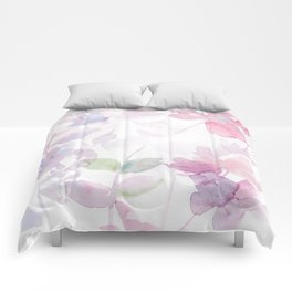 Blooming blush and purple watrclolor Comforters
