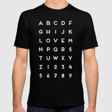 Letter Love - Black MEDIUM Black Mens Fitted Tee