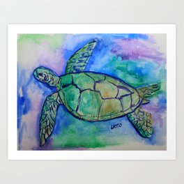 Sea Turtle Watercolor Painting Art Print