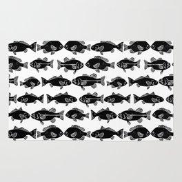 Linocut fish black and white minimal ocean animal sea life dorm college office minimalist nautical Rug