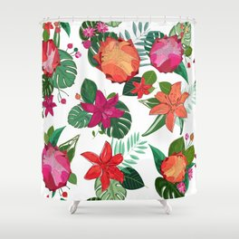 Vibrant Colored Protea, Lily and Tropical Leaves Pattern Shower Curtain