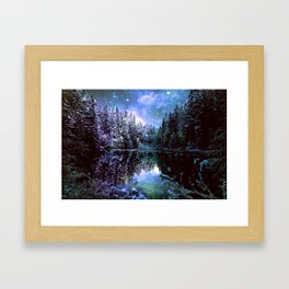 A Cold Winters Night : Violet Teal Green Winter Wonderland Framed Art Print