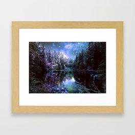 A Cold Winters Night : Violet Teal Green Winter Wonderland Framed Art Print