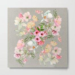 Floral Vale Pewter Metal Print