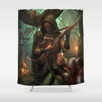 hunter Shower Curtains featuring Hunter by Mitul Mistry