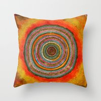 tree rings Throw Pillows featuring tree rings by Asja Boros
