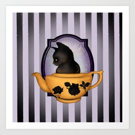 Teapot Cat Art Print