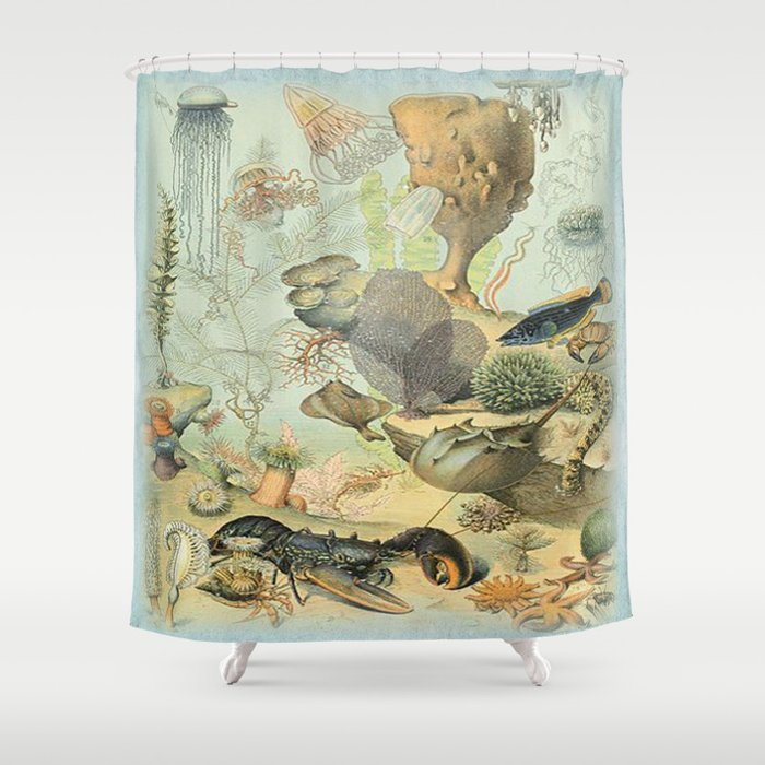 SEA CREATURES COLLAGE OCEAN ILLUSTRATION Shower Curtain