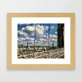 Bridge and Clouds Framed Art Print
