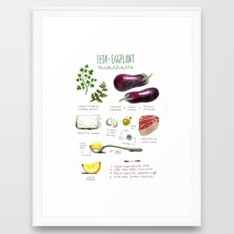 illustrated recipes: feta and eggplant meatballs Framed Art Print