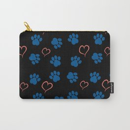 Blue paws and red hearts Carry-All Pouch