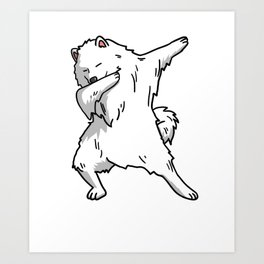 Funny Dabbing Samoyed Dog Dab Dance Art Print