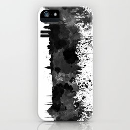 Istanbul skyline in black watercolor iPhone Case