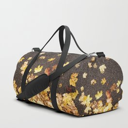 Gold yellow maple leaves autumn asphalt road Duffle Bag