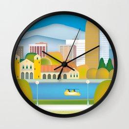 Denver, Colorado - Skyline Illustration by Loose Petals Wall Clock