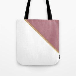 Trendy Glitter Rose Gold and White Triangle Design Tote Bag