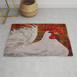 I Know I am Lovely - White Rooster Rug