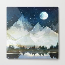 Mountain Lake Under the Starlight Metal Print