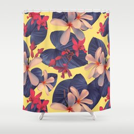 Mixed Tropical Floral Shower Curtain