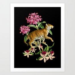 Leopard black Art Print