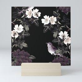 Blackberry Spring Garden Night - Birds and Bees on Black Mini Art Print