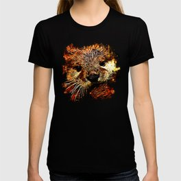 furry fish otter splatter watercolor T-shirt