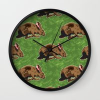 hare Wall Clocks featuring Hare by Skekfaer