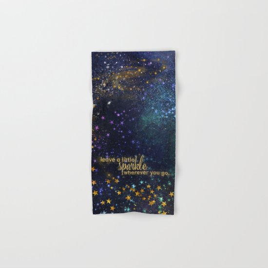 Leave a little sparkle wherever you go - gold glitter Typography on dark space backround Hand & Bath Towel