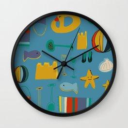 beach gear blue Wall Clock