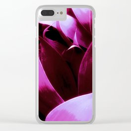 Magenta Leaves Abstract Clear iPhone Case