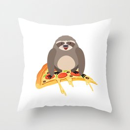Cute & Funny Sloth Riding Pizza Adorable Animals Throw Pillow