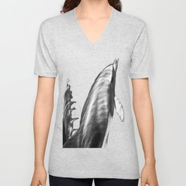 Black and white dolphins Unisex V-Neck