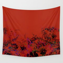 Red Grunge Floral Wall Tapestry