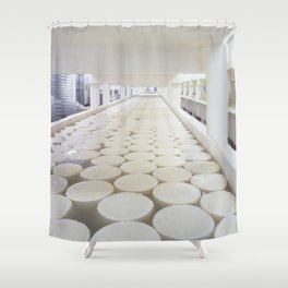 Curing baby Swiss cheese rounds at the Alp and Dell factory Shower Curtain