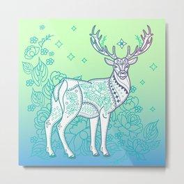 Deer and Flower Metal Print