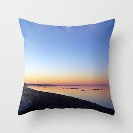 Winter Beach Sunset Throw Pillow